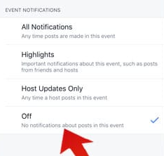 Facebook Event notification Off